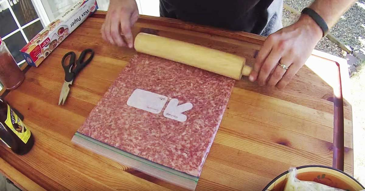 Flatten ground sausage inside a freezer bag. The resulting treat is outstanding